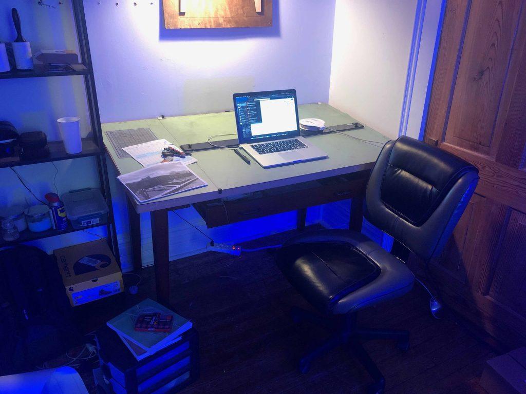 student desk in corner