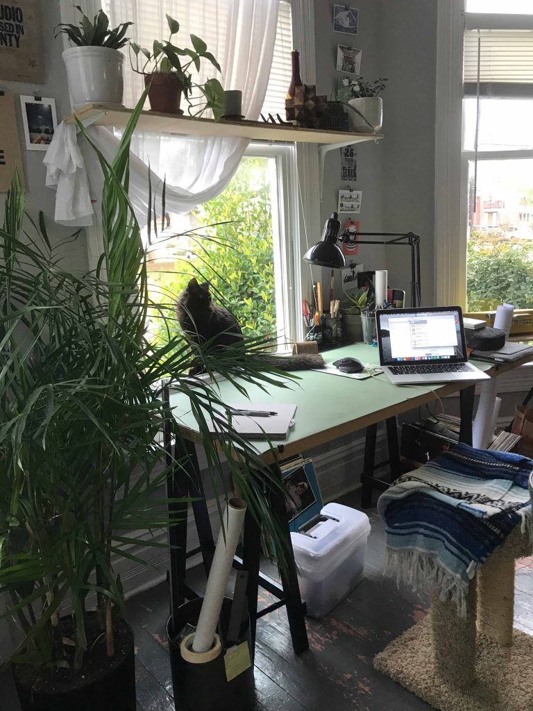 student desk by window with plants