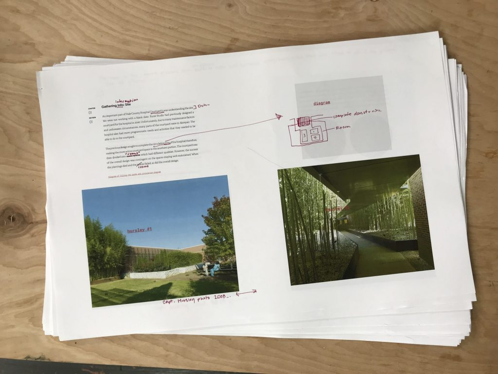 printed book with mark ups