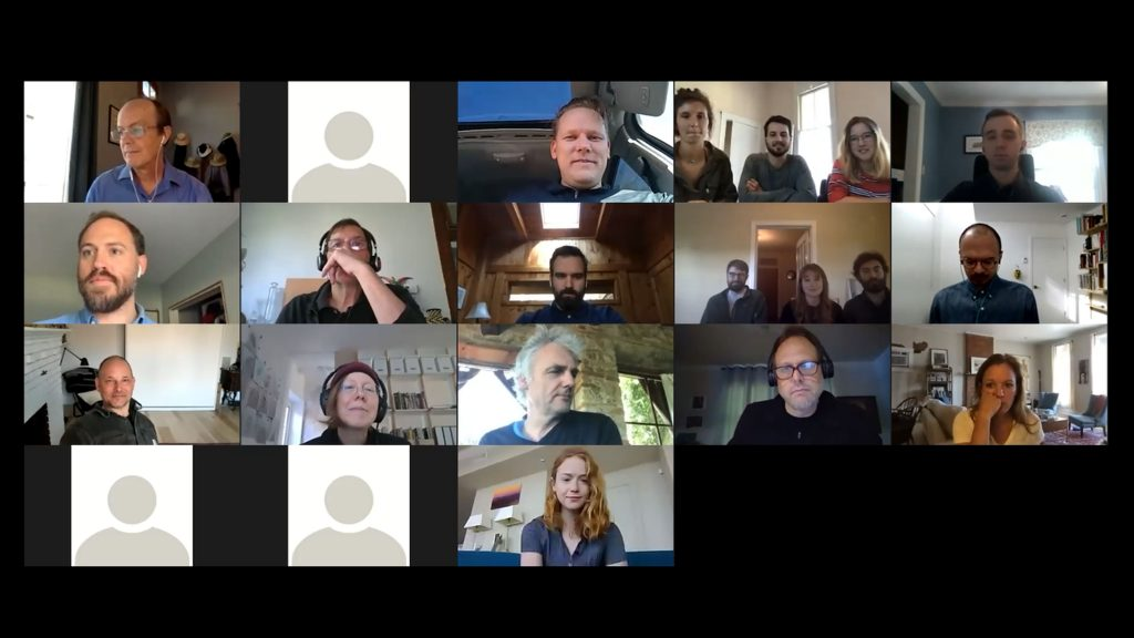 many professors, practicing architects, and students gathered over zoom meeting for a round table discussion of projects