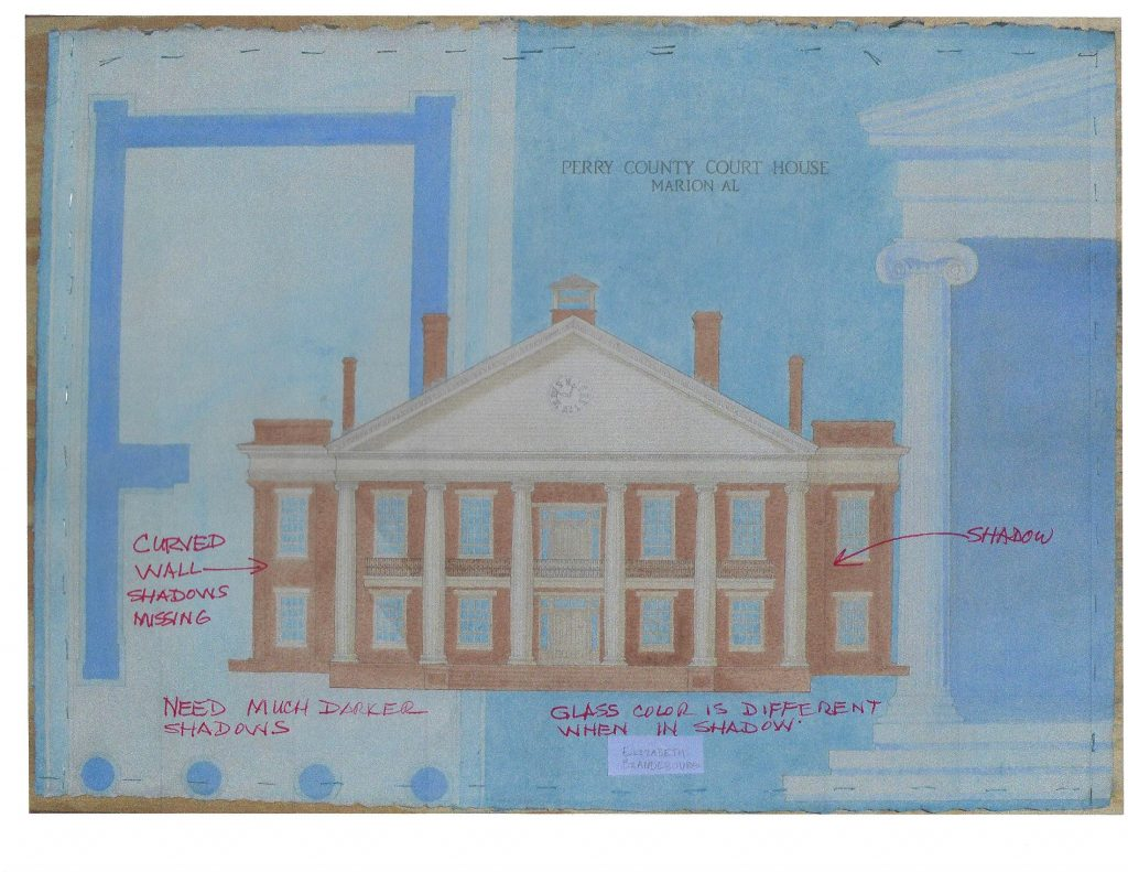 final drafted watercolor of the Perry County Court House
