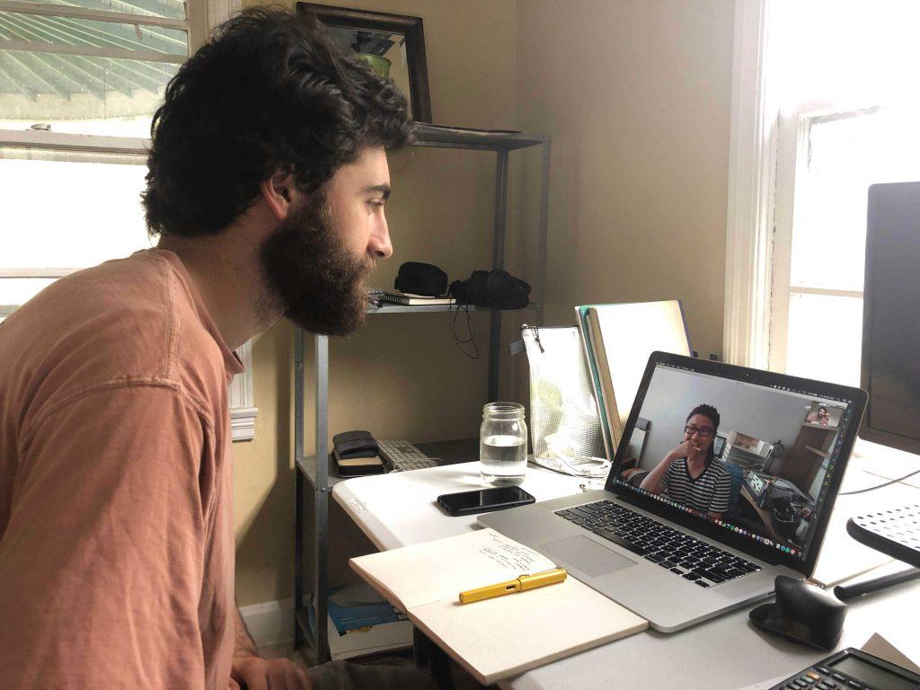 Cory talking to Jeff through Skype