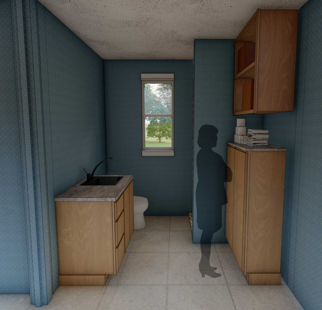 perspective of Ophelia's Home bathroom cabinets