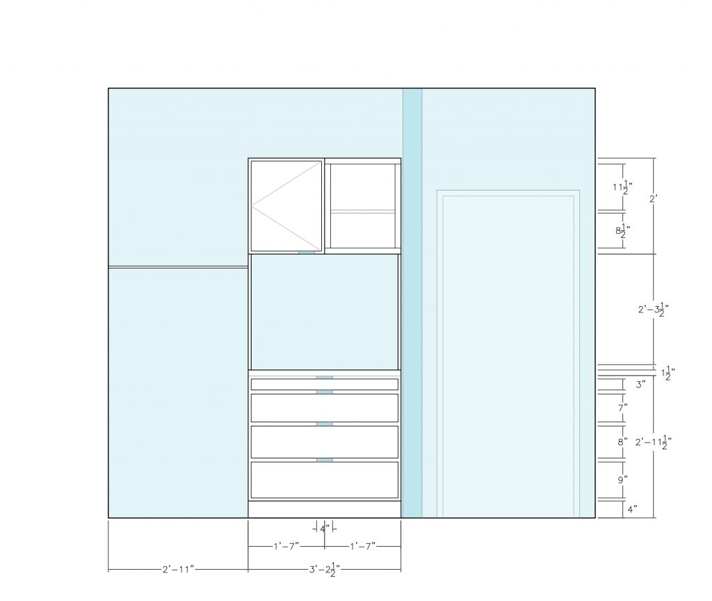 elevation of Ophelia's Home bedroom cabinets