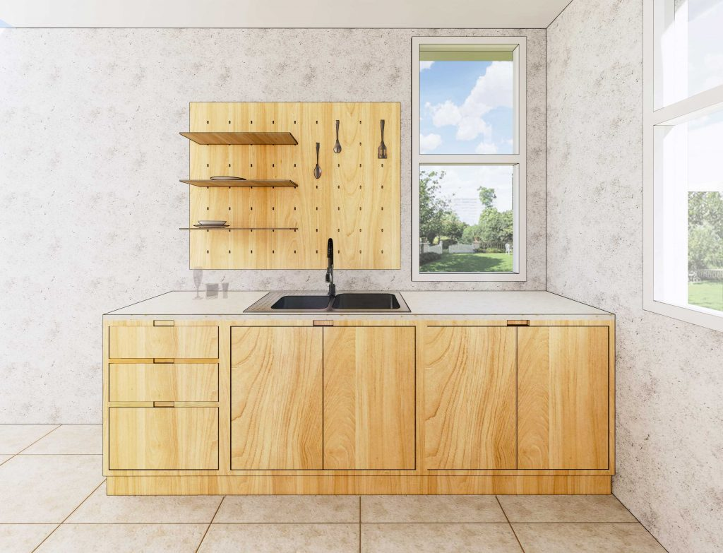 perspective of one side of Ophelia's Home gallery kitchen cabinets