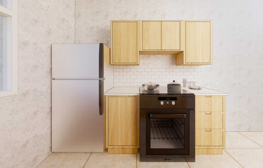 perspective of other side of Ophelia's Home gallery kitchen cabinets