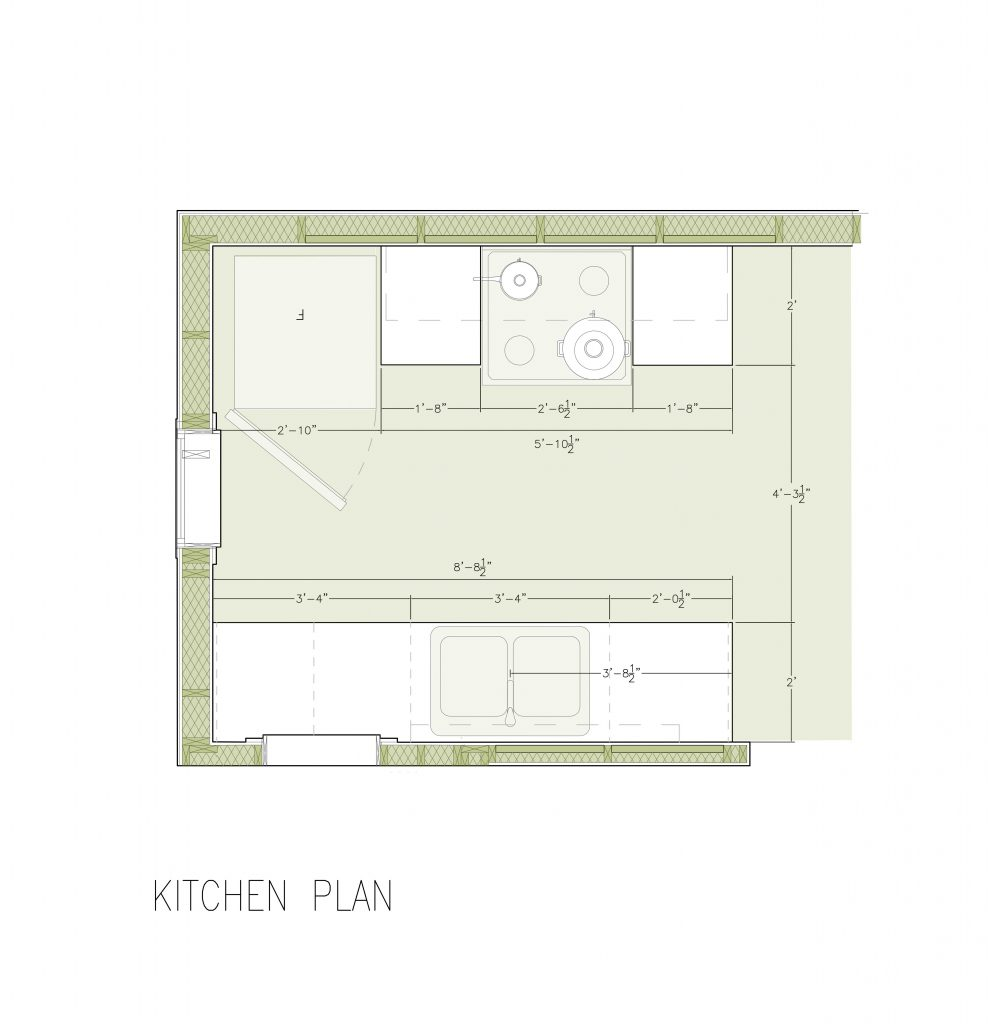 plan of Ophelia's Home kitchen cabinets