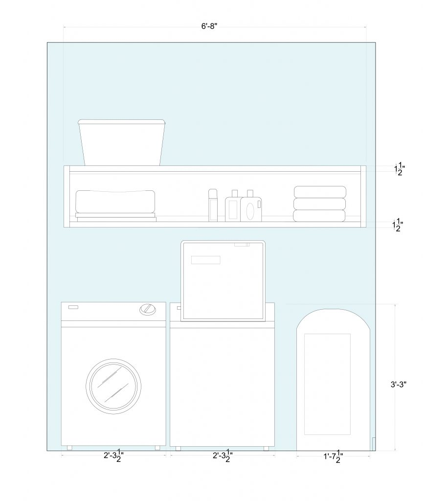 elevation of Ophelia's Home laundry cabinets