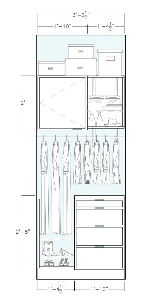 elevation of Ophelia's Home nook cabinets