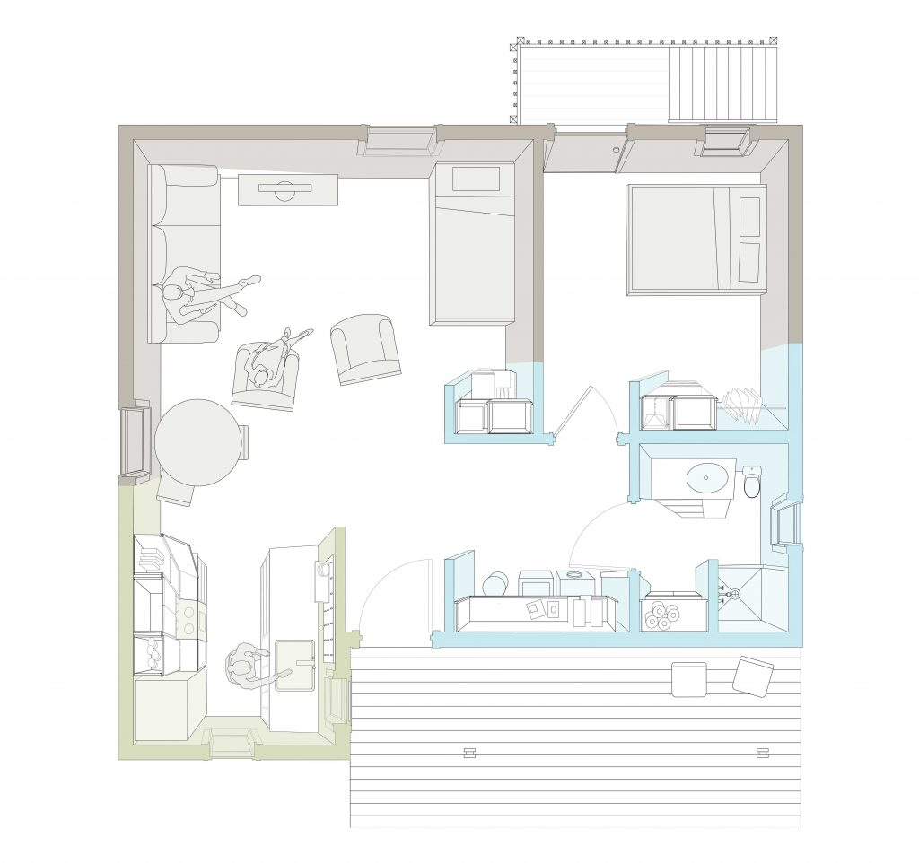 plan perspective of Ophelia's Home focusing on millwork
