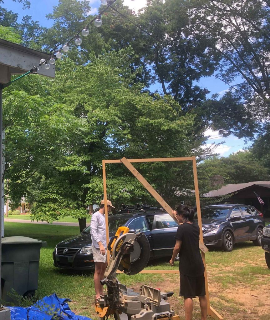 Students build frame for shade screen with dimensional lumber