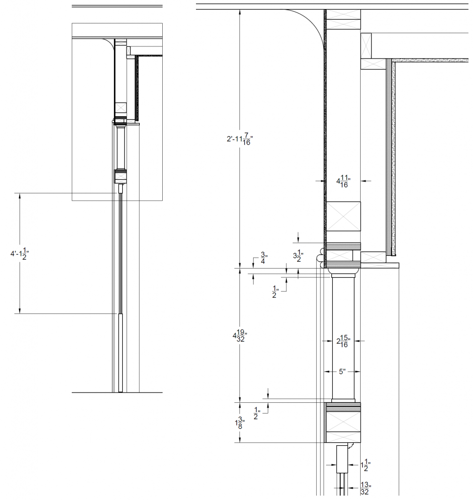 Dimensioned drawings of porch door