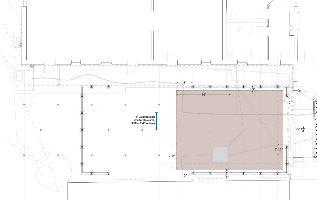 Plan drawing of brick pad edging and dimensions