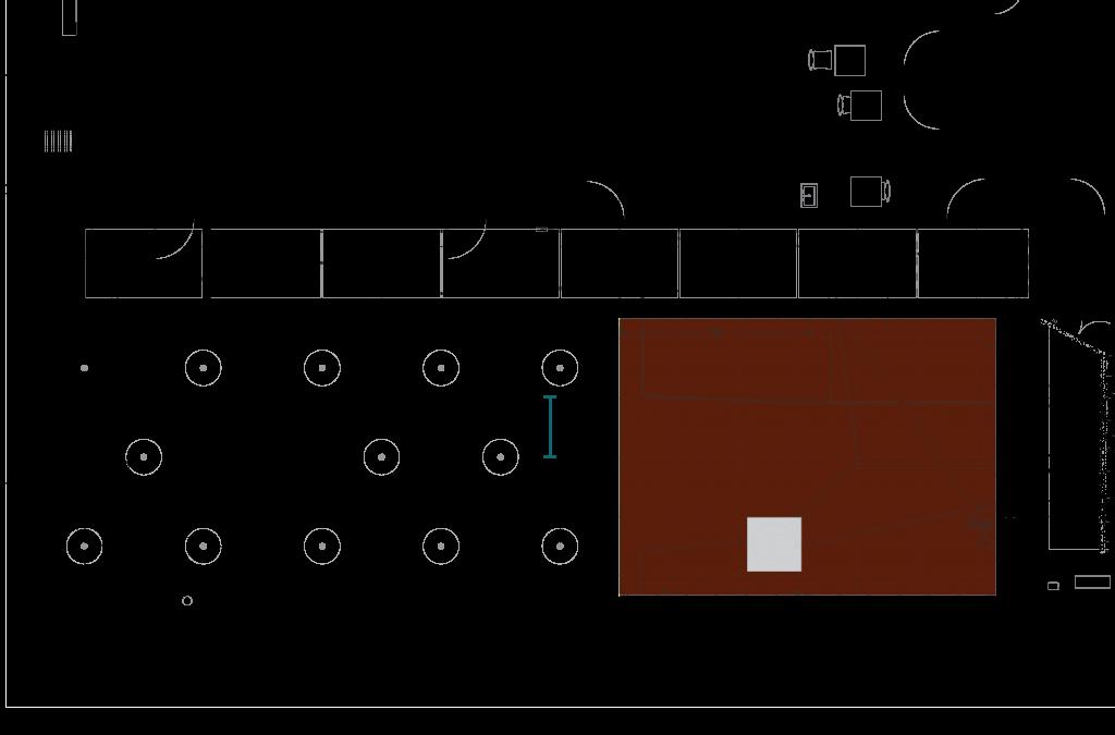 Plan drawing of brick pad edging and dimensions