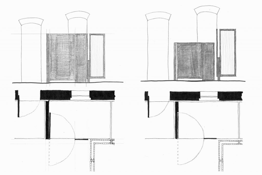 Sketches of gate and concrete wall interaction