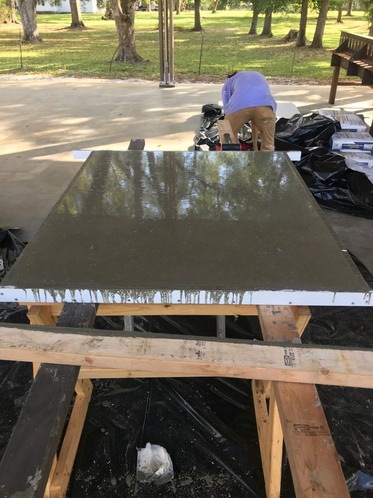 shiny finished concrete panel surface