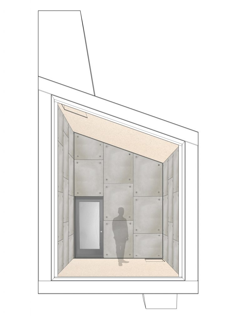 section perspective of concrete pod showing large concrete panels in running bond arrangement on wall surface