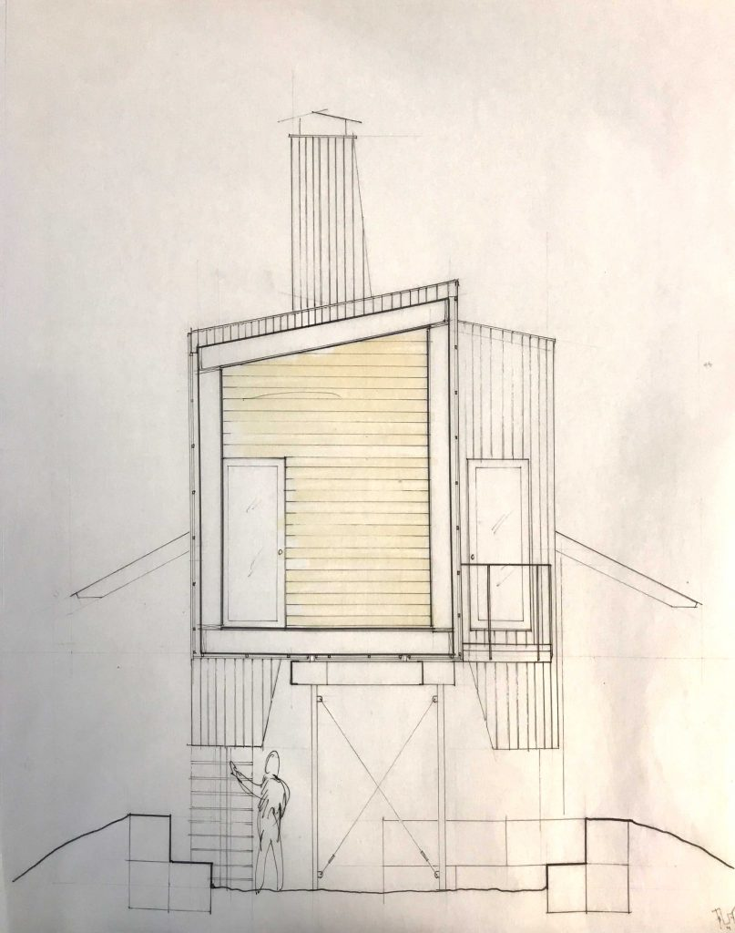 iteration 1 short section through wood pod with concrete pod in elevation behind