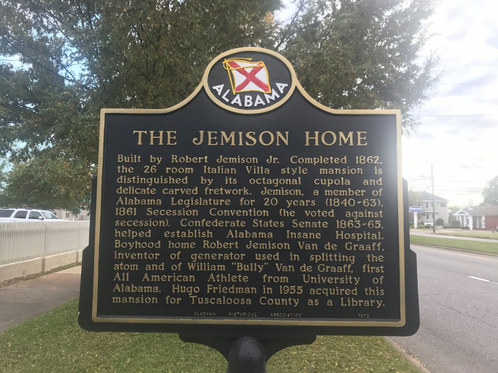 sign in front of Jemison Home with a brief history