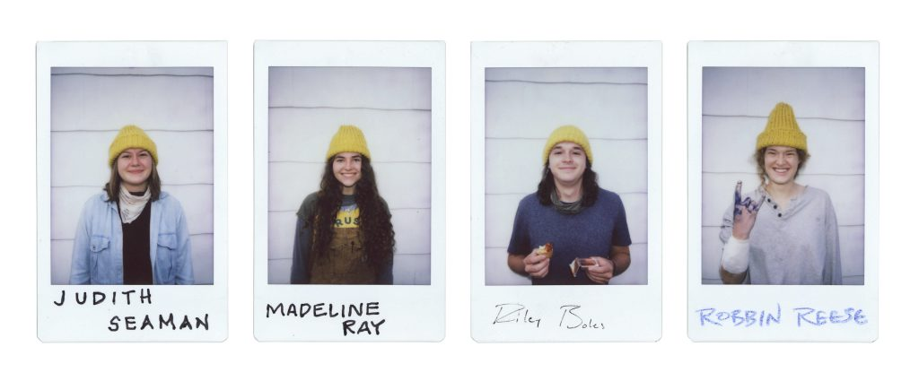 Individual polaroids of students on the Myers' Home team