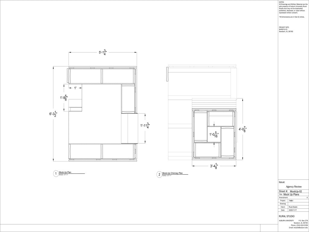 Overall plan and chimney plan section drawings of the pod mock ups
