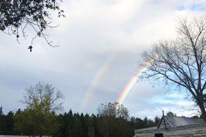 double rainbow over Morrisette campus storehouse