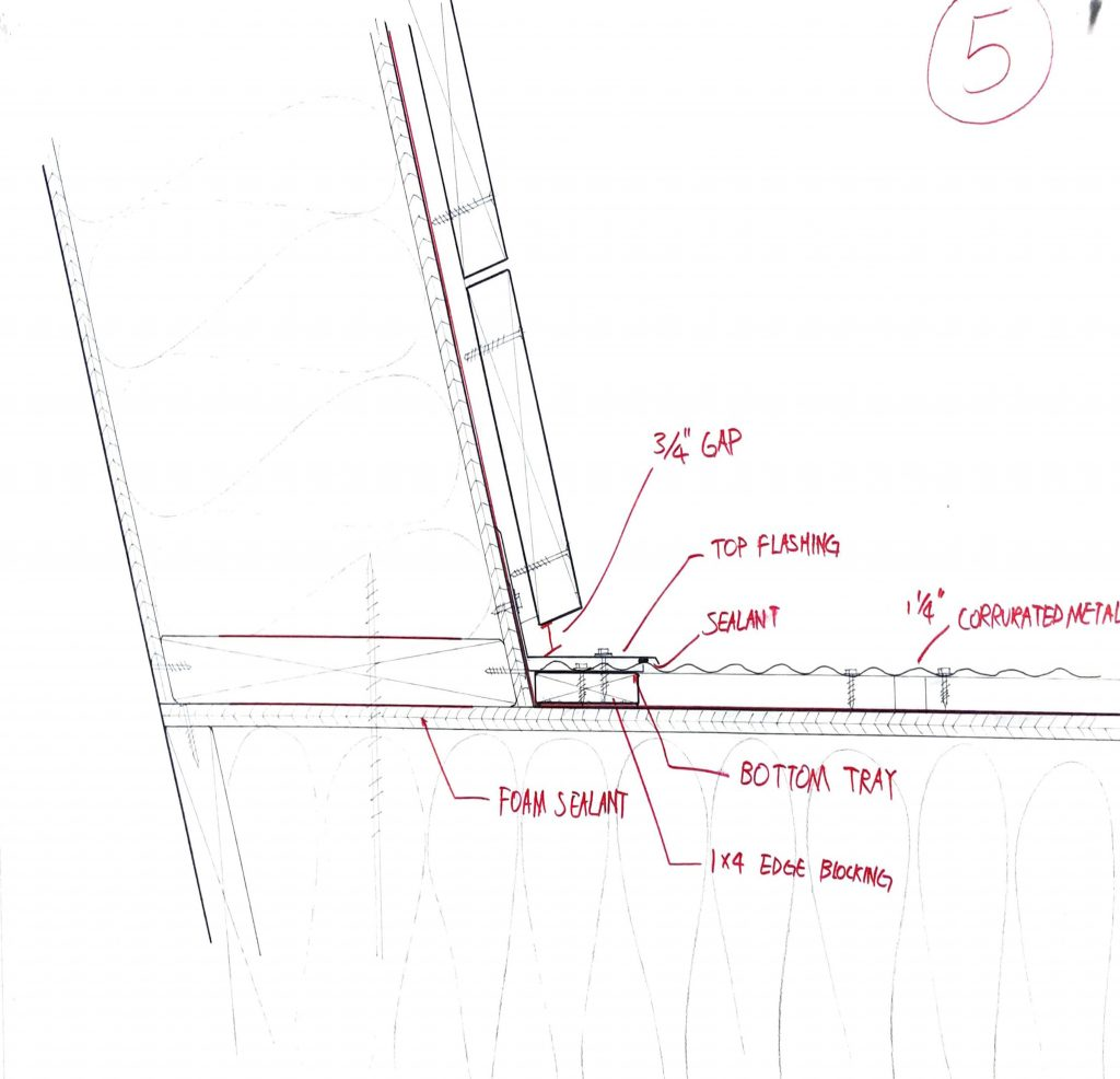 section through roof and chimney intersection hand drawn 1:1
