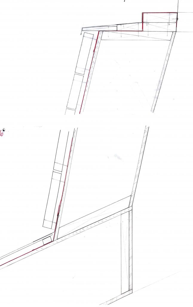 Cut section through roof and top chimney, hand drawn 1:1