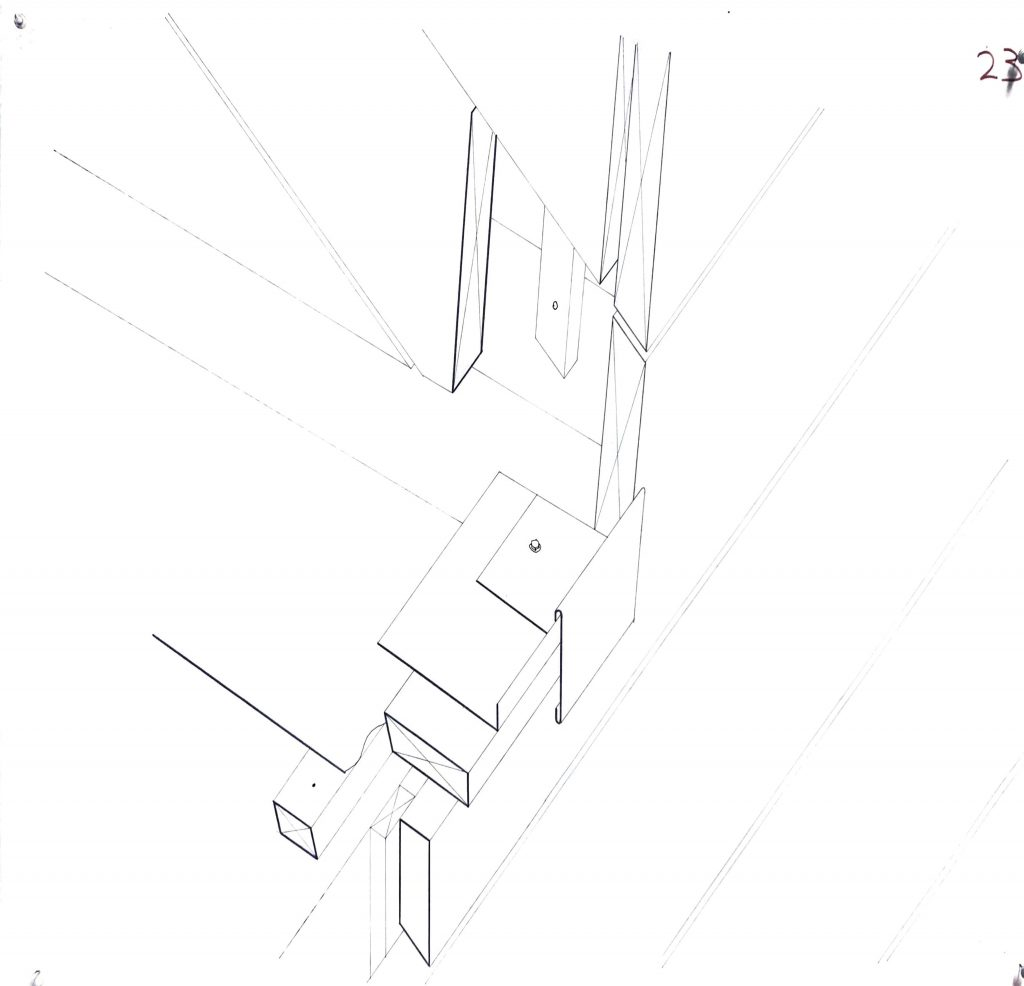 Axonometric section through roof and chimney intersection hand drawn 1:1