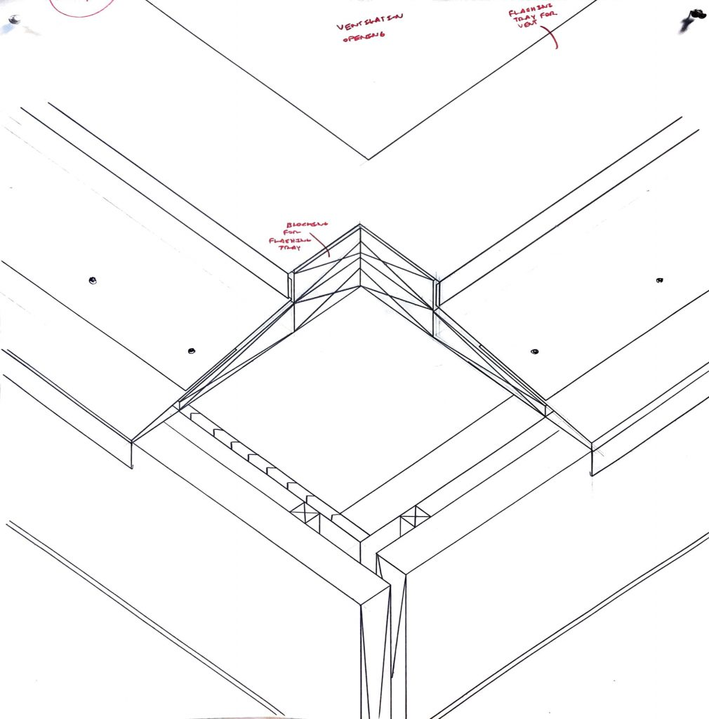 roof corner detail shown in axonometric section