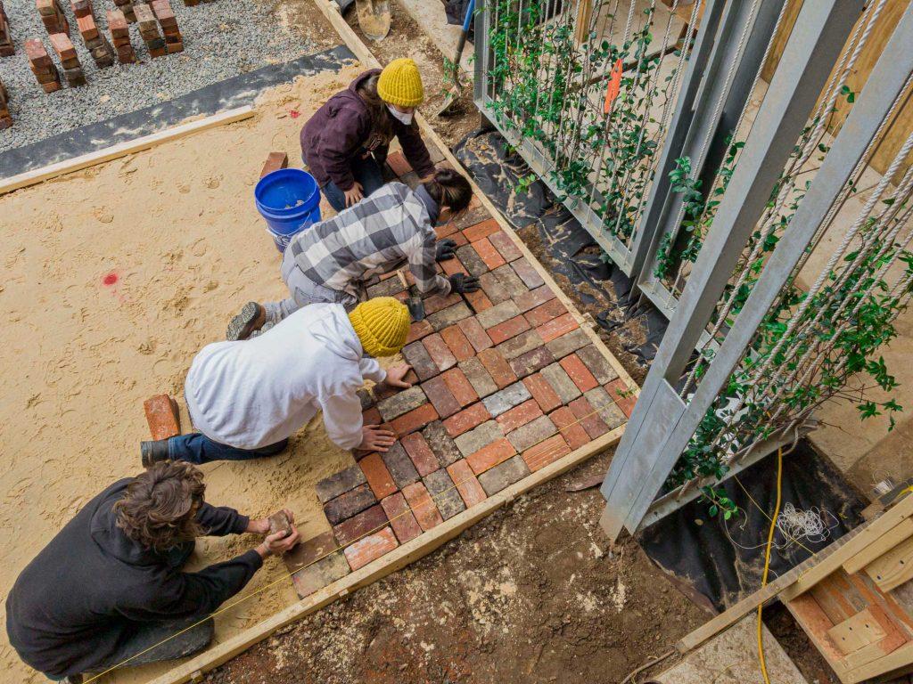 Begining corner of brick pad