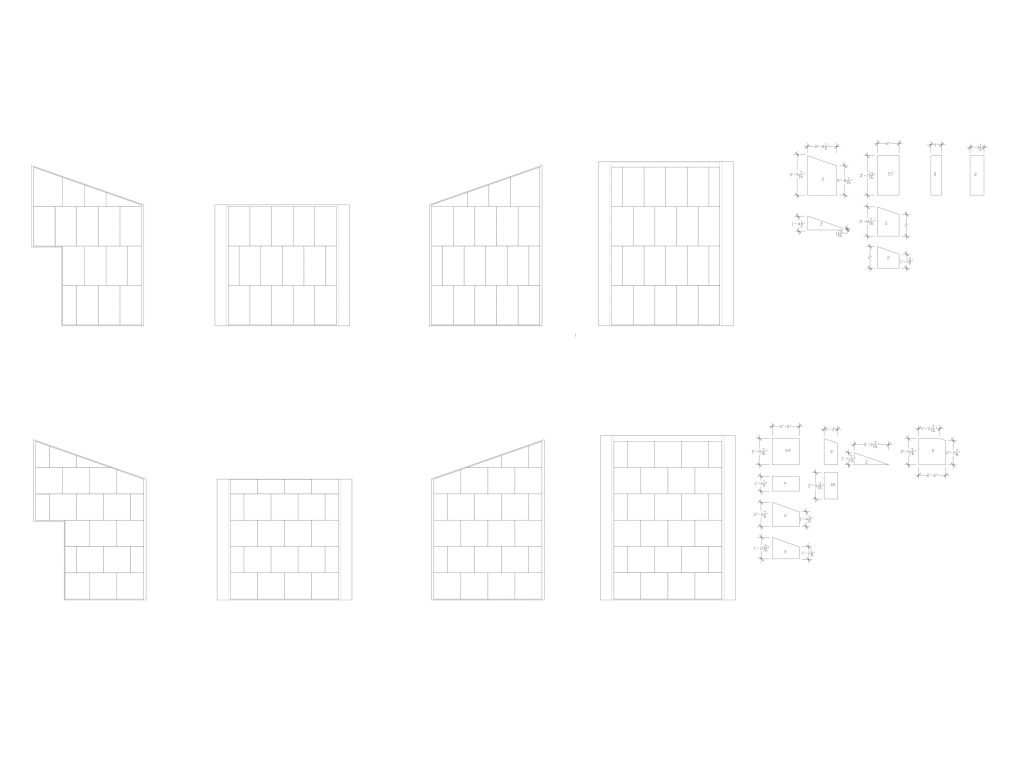 unfolded wall elevations showing vertical and horizontal panel strategies