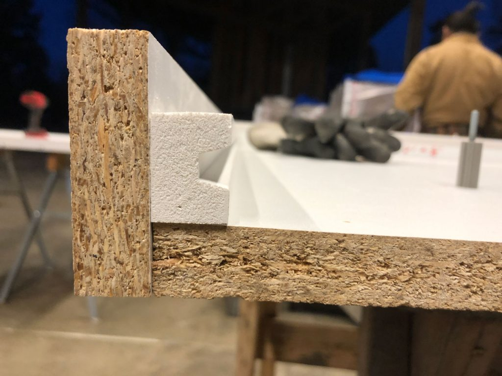tongue of the tongue and groove routed out of PVC board