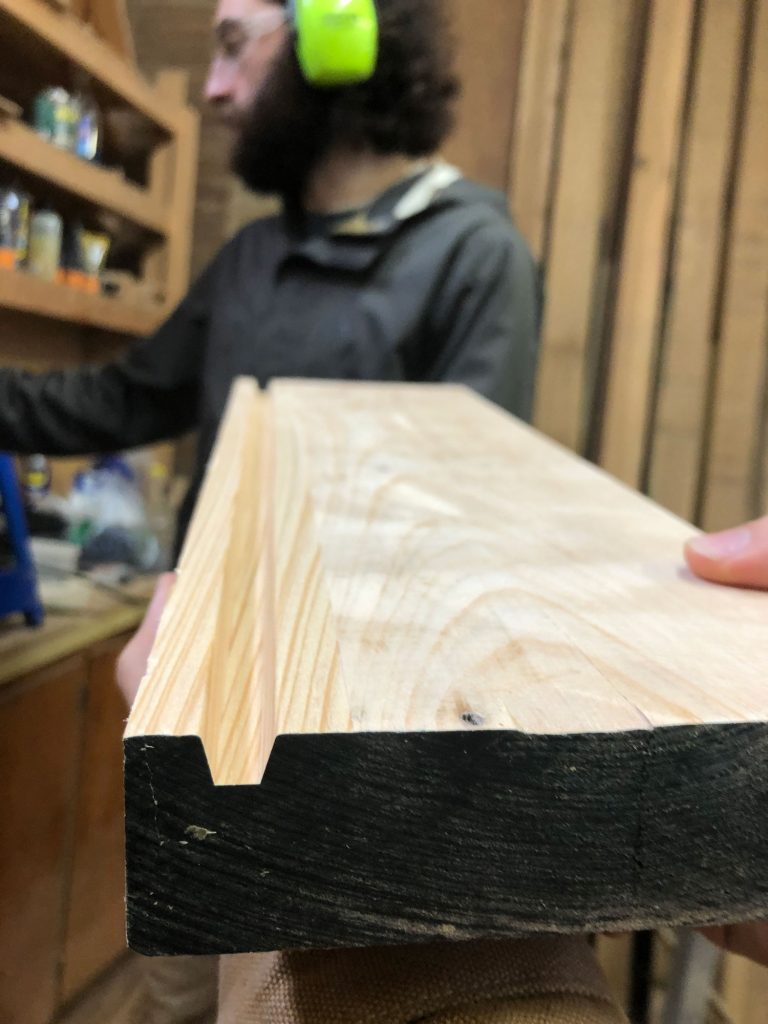 routed groove in pine board