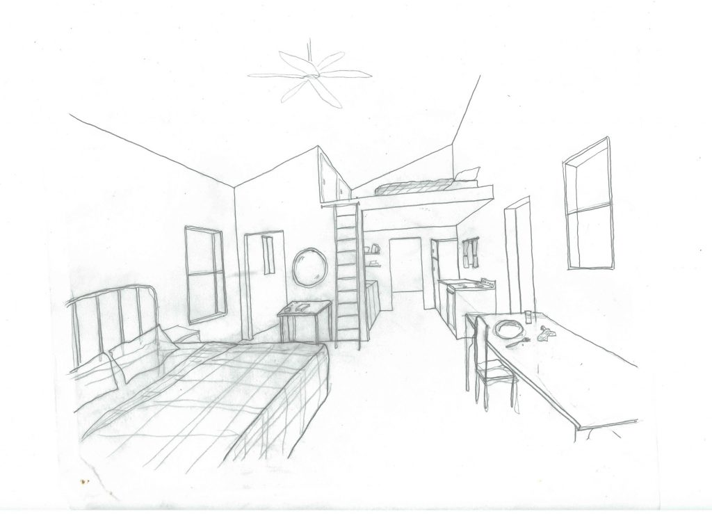 Sketch of interior loft space
