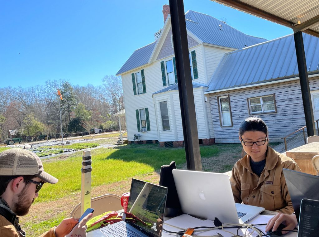 Students working outside on Morrisette Campus