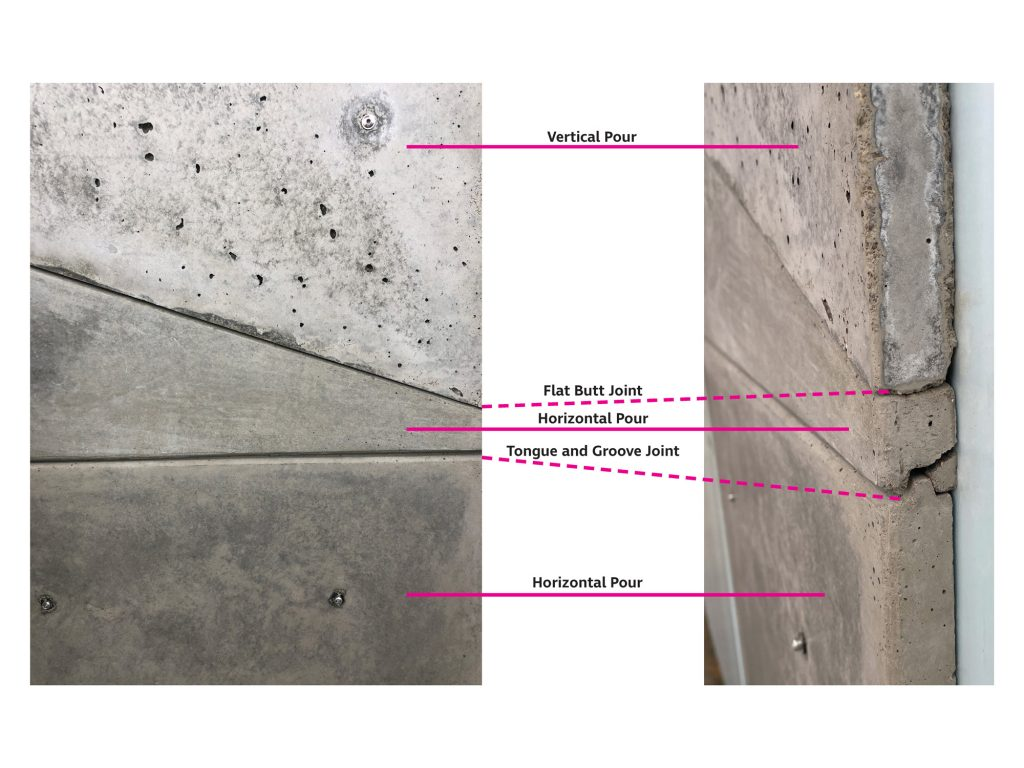 Diagram showing the corresponding concrete panel surfaces and joints