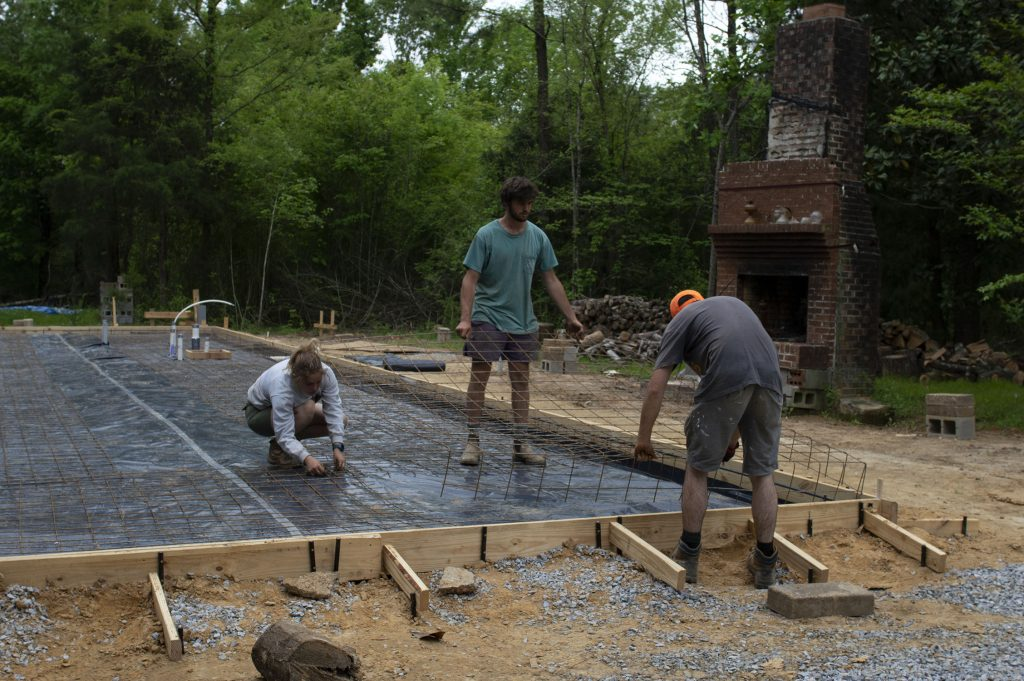 Students Laying rebar mesh