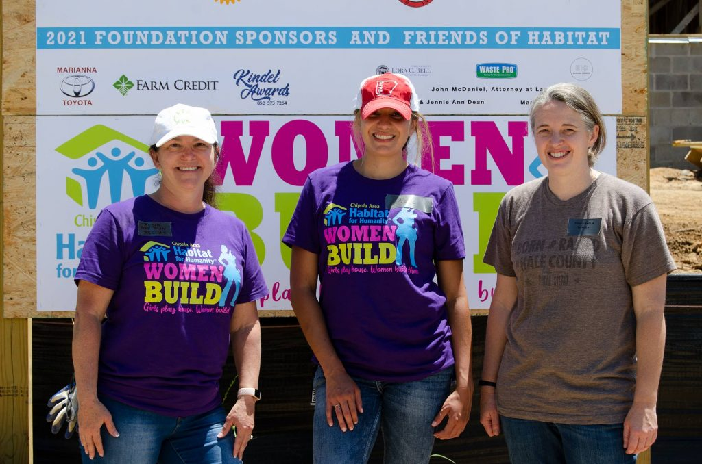 Robin, Clare, and Mackenzie at 2021 Women Build