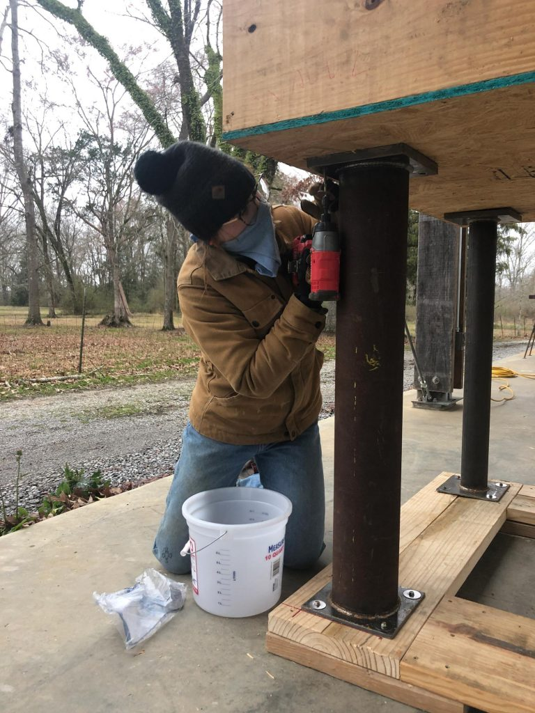 livia attaching mock-up columns to floor