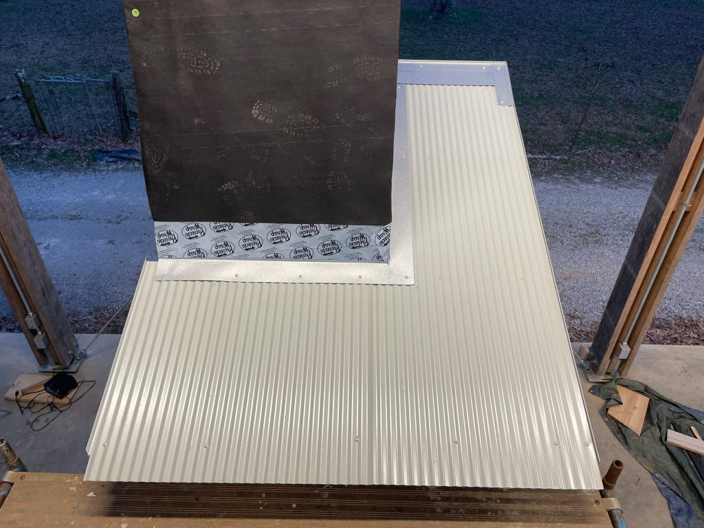 complete mock-up roofing-light gray with aluminum flashhing around chimney