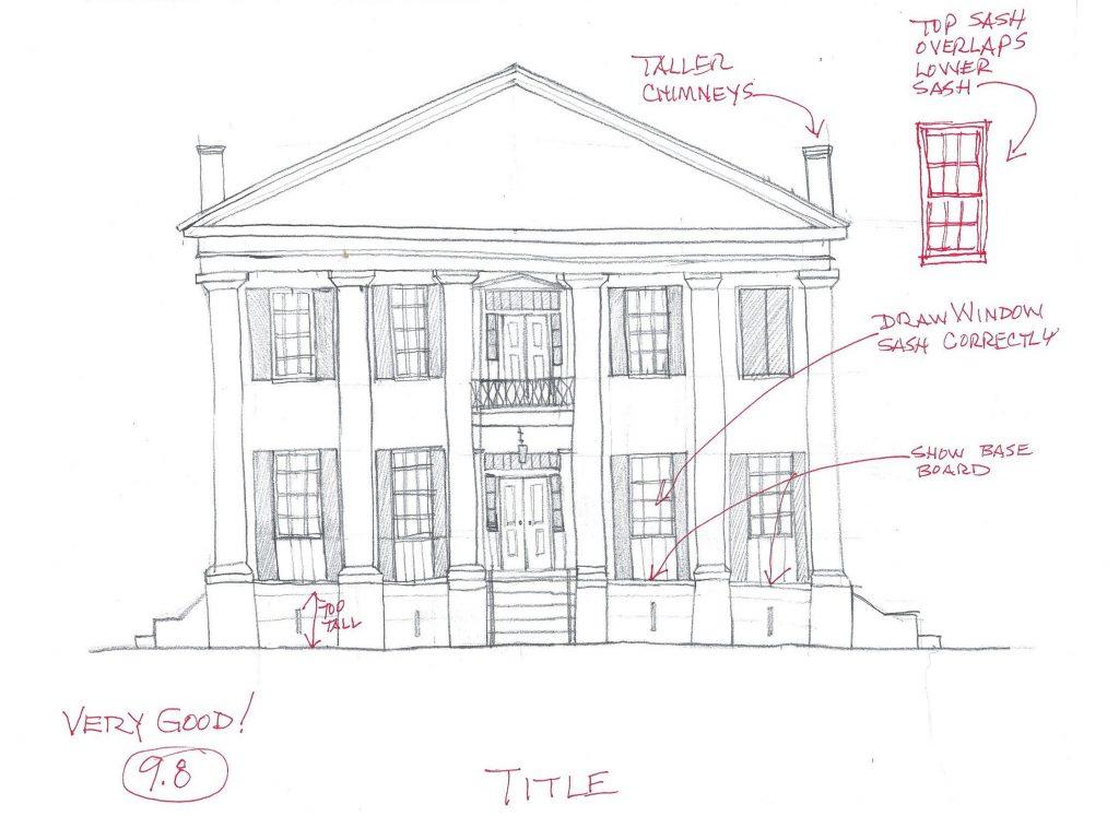 a pencil sketch of an antebellum home
