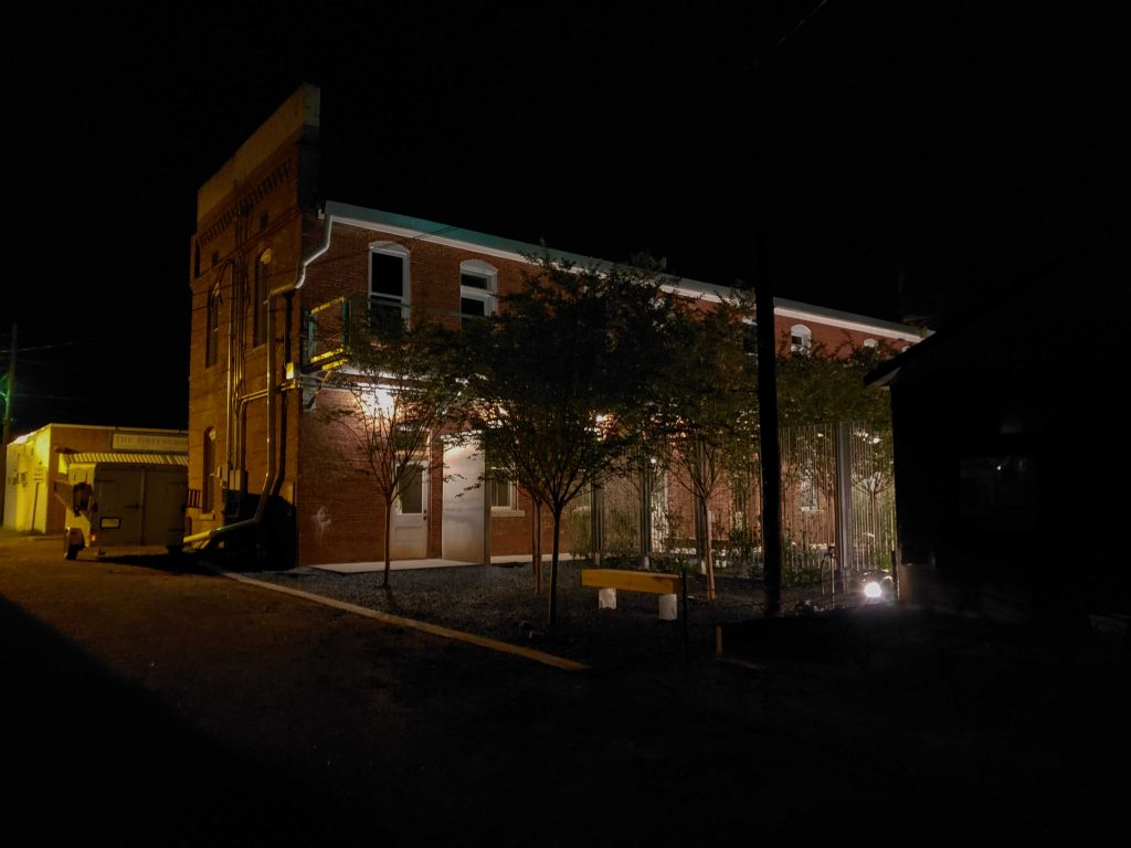 Nightime image of north of courtyard