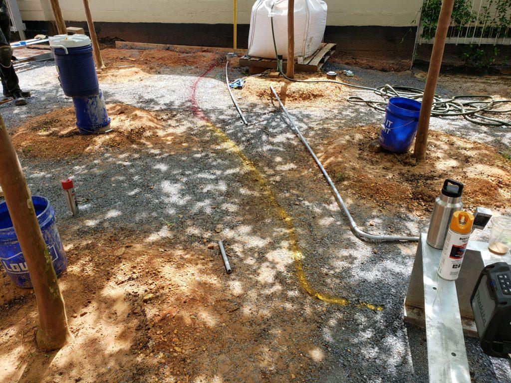 spray painted ground