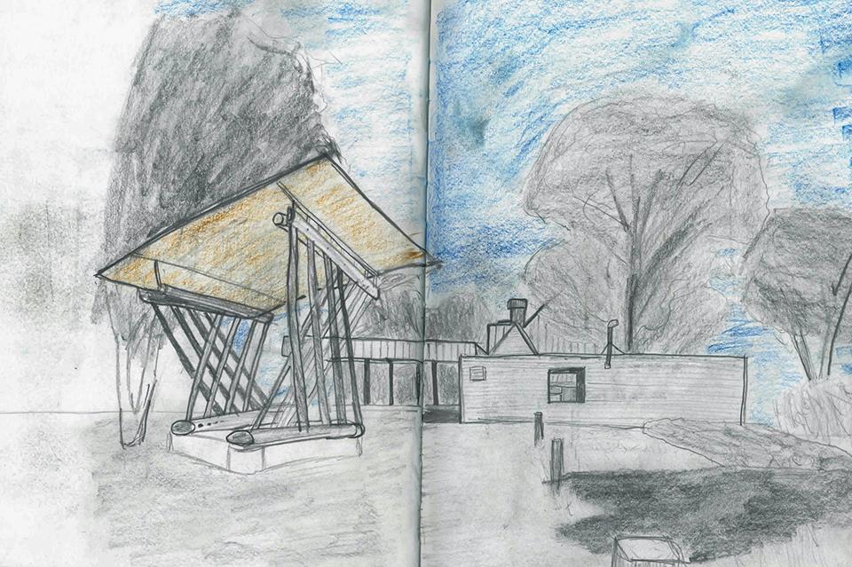 Hand sketch in pencil for Dan wheeler workshop