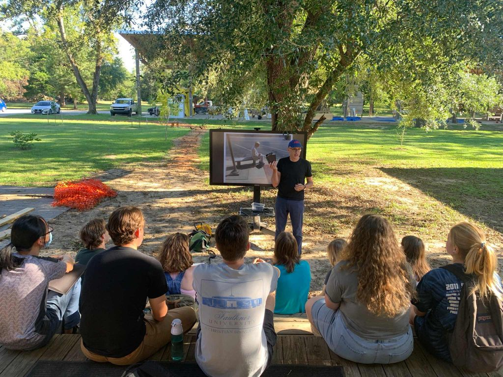 Dan Wheeler outdoor lecture with students