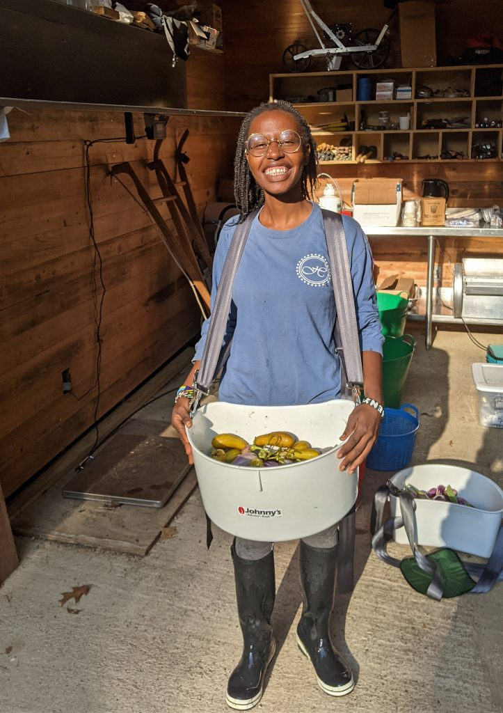 A volunteer farm worker smiles while wearing a crop collection tub