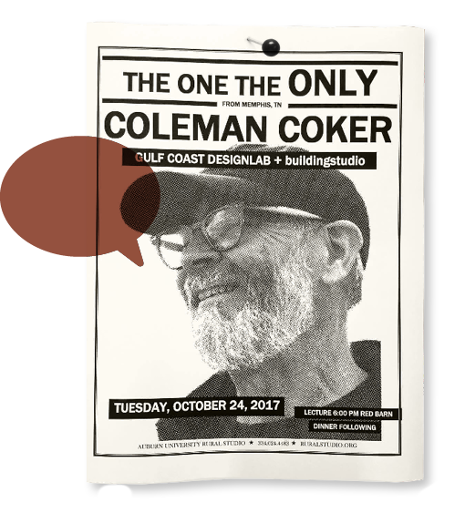 A lecture poster featuring Coleman Coker overlain by an empty rust-colored speech balloon