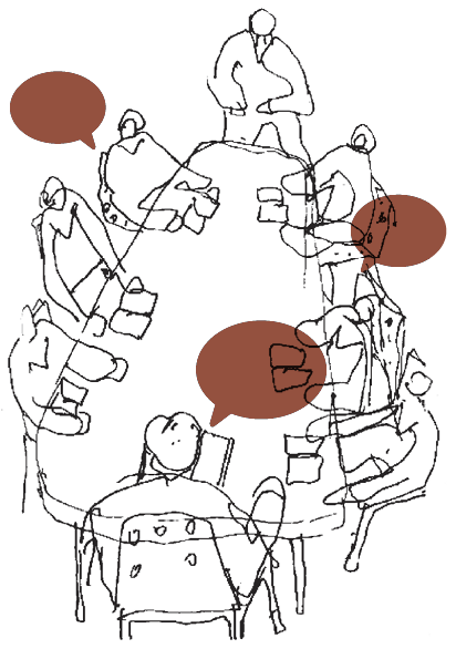 A loose sketch of eight people sitting around a table. Three people have empty rust-colored speech balloons drawn above their heads