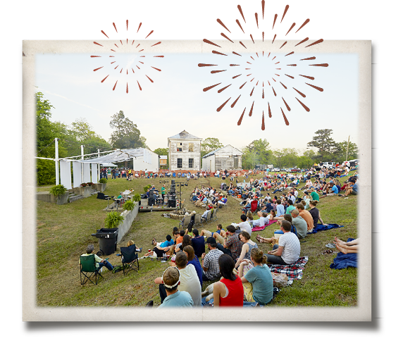 Hundreds of visitors sitting in in the Bodark Amphitheater watching the Pig Roast & Valediction Ceremony overlain by rust-colored graphics representing fireworks